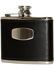 Bisley Hip Flask 4oz Black leather stainless steel