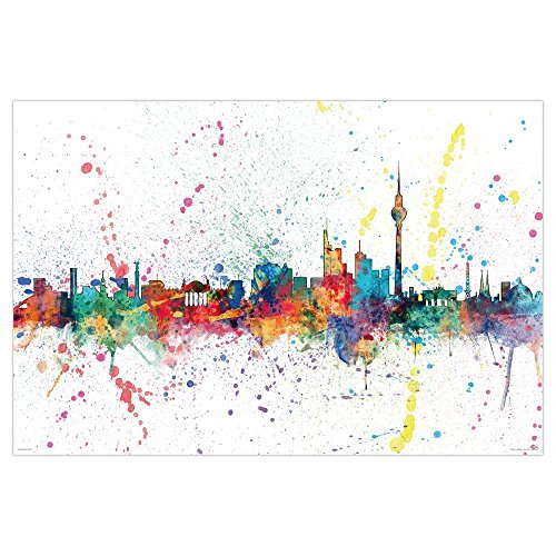 Close Up Berlin Skyline Poster - Michael Tompsett - Skyline in Wasserfarben (91,5cm 61cm) - Tompsett Michael Weltkarte