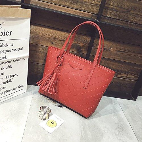 AoBao ampio pacchetto di semplice femmina western New Toth massa pacchetto borsa pacchetto spalla la grande marea di elegante confezione, V-line del rosso La linea rossa di a forma di V