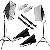 Ruili 60x60cm Fotostudio Softbox Set Studioleuchte mit 2x85W E27 Fotolampen 5500K Tageslicht + 2 X Lampenstativ