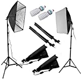 Ruili Softbox Set Fotostudio Studioleuchte set inkl. 2pcs 60x60cm Fotostudio Softboxen 5500K Tageslicht 2x135W Fotolampe und 2 x faltbare Lampenstativ
