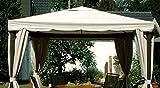 LECO Ersatzdach aus hochwertigem Polyester für den Pavillon Sahara in Naturton, 3 x 3 Meter, Garten Zubehör, Pavillondach, wetterfest, wasserabweisend imprägniert, natürliches zeitloses Design
