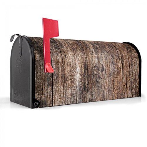 BANJADO US Mailbox | Amerikanischer Briefkasten 51x22x17cm | Letterbox Stahl schwarz | mit Motiv Altes Holz, Briefkasten:mit schwarzem Standfuß