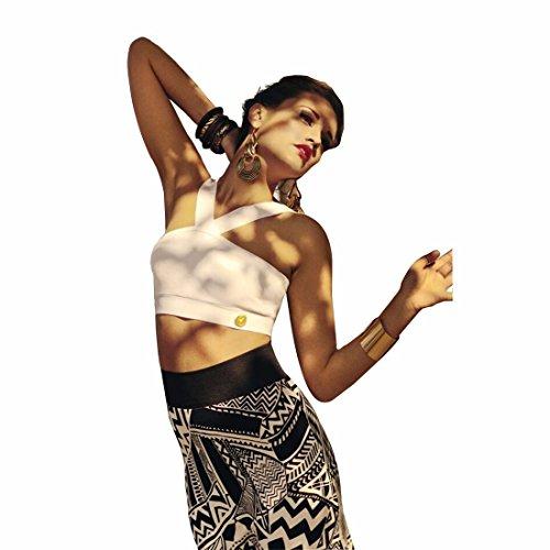 QIYUN.Z Femme Manches Crop Top Dos Nu, Jupe Imprime Tribal Moulante Sexy Ensemble Deux Pie ces couleur de l'image