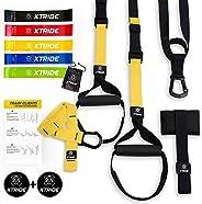 Xtride Kit de Entrenamiento en Suspensión Fitness Profesional, Cintas TRX, Bandas Elásticas, Entrenamiento Mus