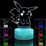 مصباح طاولة بإضاءة ليلية لطاولة السرير Pokemon Pikachu LED، مصباح مكتب لرعاية العين قابل للتعتيم، 7 ألوان متغي