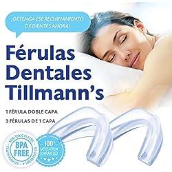 Tillmann's Férula Dental Bruxismo 4 unidades – Férula De Descarga Para Rechinamiento De Dientes – Protector Bucal Para Dormir – Silicona 100% Libre De BPA
