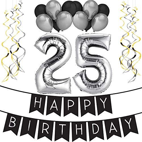 """Paquete para Fiesta de Cumpleaños Número 25 """"Happy Birthday""""- Paquete con Banderín de Feliz Cumpleaños Negro y Plateado, Globos y Serpentinas- Decoración para Cumpleaños – Artículos para la Fiesta del 25 Cumpleaños"""