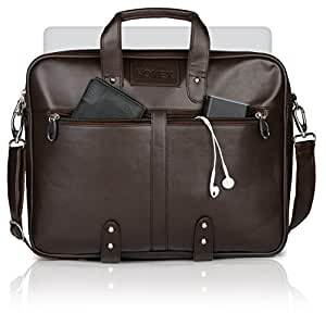 "Novex Faux Leather Brown 15"" Laptop Bag"