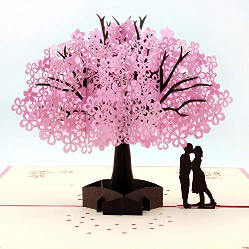 Handgefertigte Kirschblütenkarte, Pop-Up-3D-Blumenkarte, romantische Liebesbuchstabe, Grußkarte, Jahrestag, Hochzeit, Valentinstag - Hochzeit Karte Wünsche Box