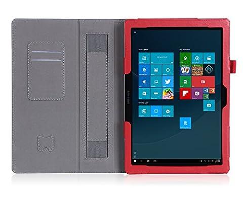 ISIN Housse pour Tablette Série Étui Premium PU avec Support pour Samsung Galaxy TabPro S de 12 pouces SM-W700 W703 W708 Windows 10 2 en 1 Laptop Tablette Avec Sangle Velcro et Slot Cartes (Rouge)