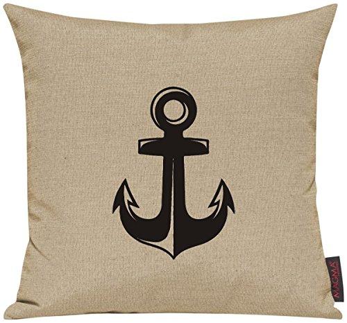 Kissenhülle für Auserwählte! Sofakissen Sailing Anker Motive Maritim, Farbe beige