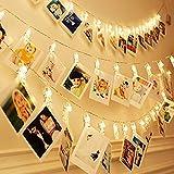 Dimoxii LED-Foto-Clip Lichterketten, 40 Foto-Clips 6M batteriebetriebene Fairy Picture Lights zum Aufhängen von Fotos, Bilder, Hochzeit, Schlafzimmer Dekorationen, hängende Weihnachtskarten & Notizen