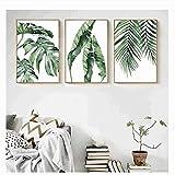 xwwnzdq 3 STÜCKE Aquarell Pflanze Grüne Blätter Leinwand Malerei Kunstdruck Poster Bild Wand Modernen Minimalistischen Schlafzimmer Wohnzimmer Dekoration Kein Rahmen