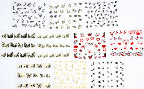 10pcs/package nail stickers decals multi mix designs including French semi-paste nail stickers decals/black flowers/white flowers with gold/black butterflies/valentine designs with red and pink heart/red lips/pink lips/dancing lovers/etc. by Combine nail stickers