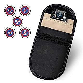 Amteker Car Key Signal Blocker Case, Keyless Entry Fob Guard Signal Blocking Pouch Bag, Antitheft Lock Devices, Pouch Blocking All Signal for All Device Which Can Put In (Black)