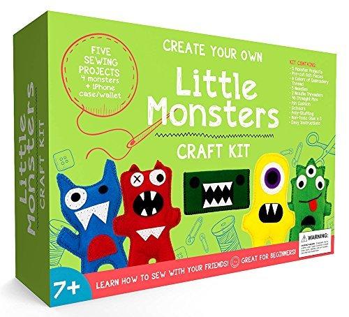 Little Monsters Nähset für Anfänger - ein tolles Geschenk für Mädchen und Jungen im Alter von 7 bis 13 Jahren, das beste pädagogische Bastelset & Spielzeug für Kinder