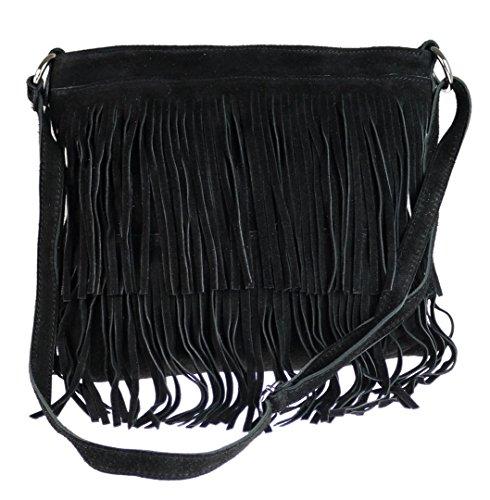 Girly HandBags Damen Daniela Umhängetaschen, Schwarz (Black) One Size - Wildleder Fransen Tasche