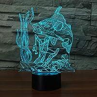 3D Luz de la noche 7 Cambio de color USB Pescado submarino visual Listo para atrapar