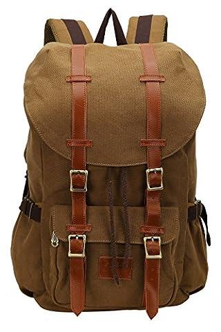 Faston Canvas Rucksack Rucksäcke Daypack Laptoprucksack Schulrucksack Reiserucksack Wanderrucksäcke Camping Taschen Unisex für Herren Damen (Kaffee)