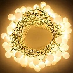 Cadena de Luces, Gledto 40 LEDs 4m Tiras bombilla Bola Redonda Decorativa Blanco Cálido de Pilas Hogar Luminoso 50,000 Horas de Vida Interior&Exterior para Navidad Fiesta Casa Jardín Boda Compleaño