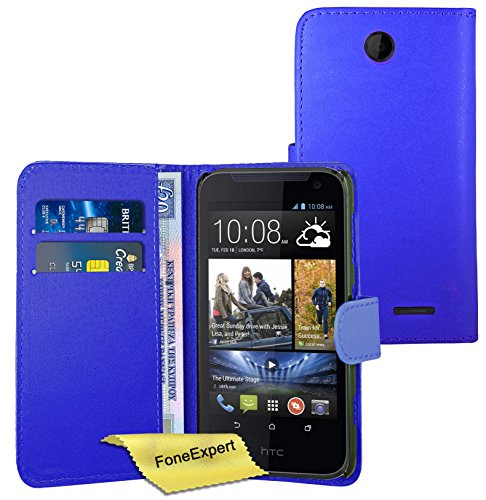 FoneExpert® HTC Desire 310 - Etui Housse Coque en Cuir Portefeuille Wallet Case Cover pour HTC Desire 310 + Film de Protection d'Ecran (Bleu)