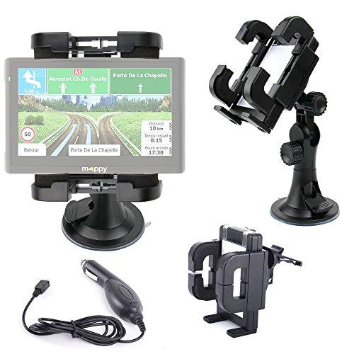 Support fixation voiture DURAGADGET rotatif tableau de bord, grille d'aération et pare-brise compatible avec GPS Mappy Maxi E618 Europe et Garmin Nuvi 2567 LM SE + Chargeur allume-cigare BONUS