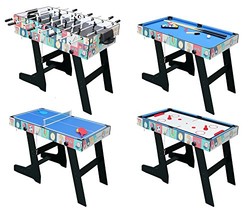 4 in 1 Folding Multi Sports Game Table Combo Table- Pool Table/ Air Hockey /Mini Table Tennis Table/ Football Table With Legs
