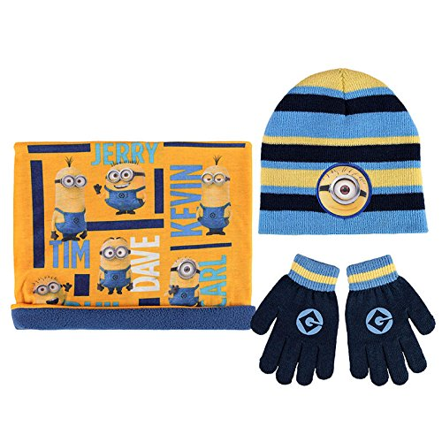 ref8b29-lic-531-minions-3-piece-set-hat-collar-fleece-snood-scarf-gloves-licensed-product-one-size
