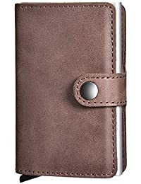 47c85b2b39 Porta Carte di Credito, SECARIER Mini Portafoglio uomo RFID Vera Pelle 6-8  Card