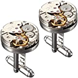 BABAN Deluxe Steampunk Watch Mens Vintage Watch Movement Shape Cufflinks Come In An Elegant Storage Display Box