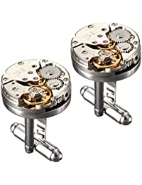 BABAN Deluxe Steampunk Watch Mens Vintage Watch Movement Shape Cufflinks With Elegant Storage Display Box