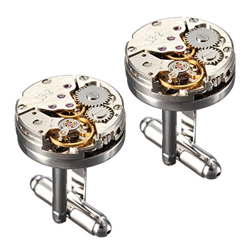 (Upgraded Version)BABAN Deluxe Steampunk Watch Mens Vintage Watch Movement Shape Cufflinks Come In An Elegant Storage Display Box
