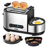 Aicok Toaster, 3 in 1 praktischer Automatik Toaster mit Grill und Eierkocher und elektrischee Pfannen, (1250 Watt, bis zu 7 Bräunungsstufen und 2 Brotscheiben, gebürsteter Edelstahl)