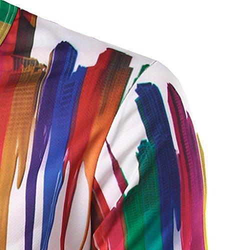 Whatlees Herren Hip Hop Eng Passform T-Shirt mit 3D Farbspritzer Digital Druckmuster B057-02