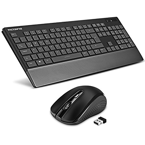 VicTsing drahtlose Tastatur und Maus Combo, QWERTZ ultradünn 104 Tasten kabellose Tastatur mit bequemer symmetrischer Maus, 2,4 GHz optisch 1600 DPI, lange Akkulaufzeit für Laptop Mac PC Computer (Wireless Maus-tastatur-ergonomische)