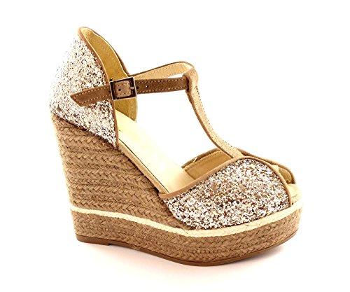 ESPADRILLES AURA platino glitter sandali donna zeppa corda plateaux 39