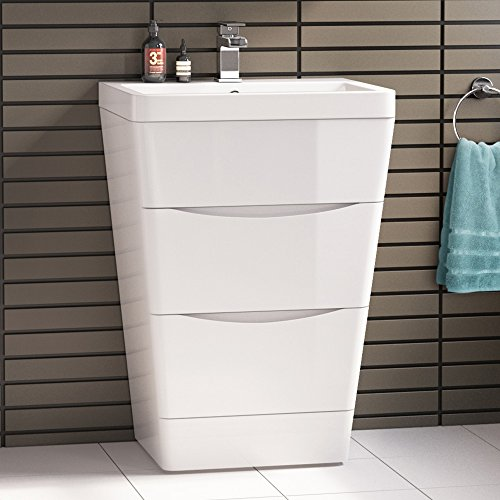 600 mm Modern White Vanity Sink Unit Ceramic Basin Bathroom Storage Furniture