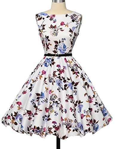 GRACE KARIN 50s Vintage Übergröße Rockabilly Kleid Partykleid Cocktailkleid GD6086 Große Größen CL6086-22#