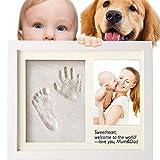 CFtrum Baby Handabdruck und Fußabdruck Rahmen Andenken set für Baby, Foto Rahmen Wandbehang und Schreibtisch, für Neugeborene, Baby Dusche oder Tauf Geschenk