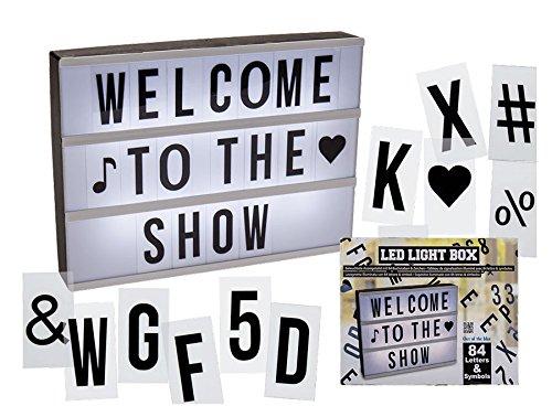 LED Lichtbox Leuchtkasten 84 Buchstaben Symbole Schild beleuchtet zum Bestücken