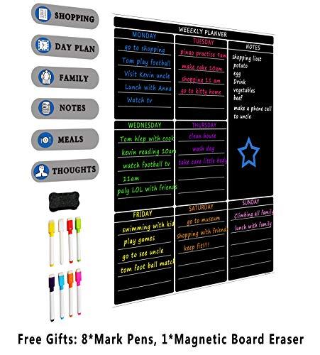 A3Magnetische Wochenplaner, magnetisch, trocken abwischbar Weiß Board Kühlschrank calendar-large Memo Board mit Starke Flexibler Magnet für Erwachsene und Kinder-Praktische Weiß Board schwarz