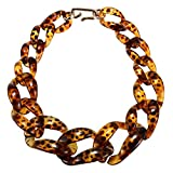SODIAL Collar de gargantilla de acrilico de moda para las mujeres Collar colgante de leopardo hecho a mano Joyeria de moda