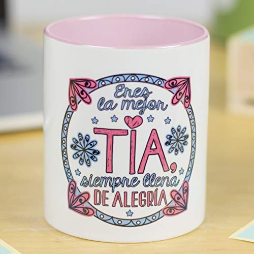 La Mente es Maravillosa - Taza con Frase y dibujo divertido (Eres la mejor tía, siempre llena de alegría) Taza Regalo Tía