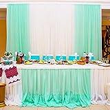 BIT.FLY Bitfly 10M x 1.35M(16.4 x 4.4 FT) Organza Voitures nœud Chaise Organza écharpe de Chaise Chemin de Table Jupe bannière décorations Mariage Ceremonie Anniversaire Fête (Menthe Verte)