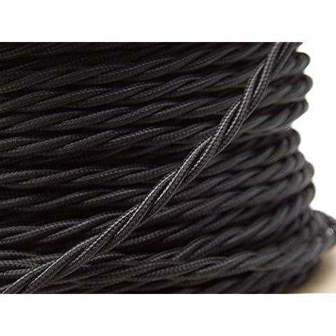 Lighstyl® - DECL-184 Cavo elettrico in tessuto nero attorcigliato, 5 m, design di tendenza, retrò