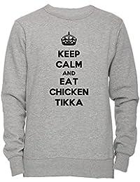 Keep Calm And Eat Chicken Tikka Masala Unisexo Hombre Mujer Sudadera Jersey Pullover Gris Unisex Todos Los Tamaños Men's Women's Jumper Sweatshirt Grey All Sizes
