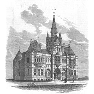 DERBYS: The Derby Free Public Library and Museum, antique print, 1876
