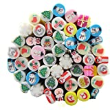 Joyeee 50 stück 3D fimo Cane Stick Flower Pattern Nail Art Tips DIY Dekoration Sticker Manikuere Nageldesign Fingernägel(Weihnachten)