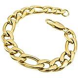 MunkiMix Acciaio Inossidabile Bracciali Bracciale Braccialetto Collegamento Polso Catena Curb Oro Tono Uomo